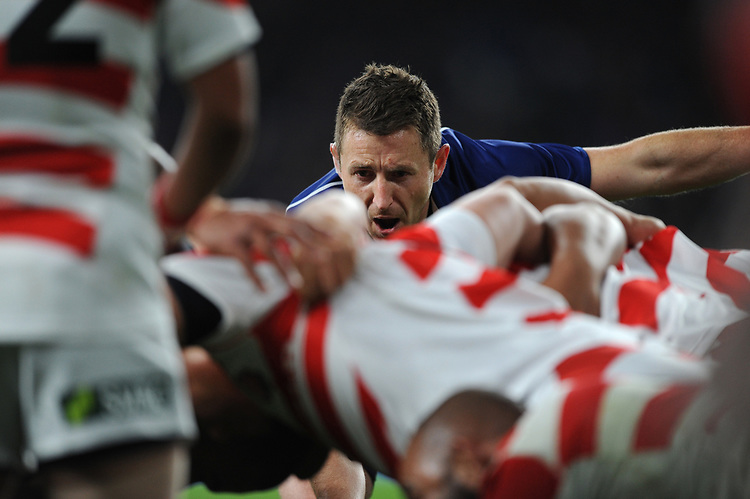 Referee Paul Williams of New Zealand oversees a scrum during the Quilter International match between England and Japan at Twickenham Stadium on Saturday 17th November 2018 (Photo by Rob Munro/Stewart Communications)