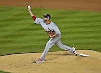 12 October 2012: The St. Louis Cardinals pitcher Adam Wainwright in action during Postseason Playoff Game 5 of the National League Divisional Series against the Washington Nationals at Nationals Park in Washington, DC. The Cardinals stunned the home team Nats with a four-run rally in the 9th inning to defeat the Nationals 9-7 and win the NLDS, moving on to the NL Championship Series. Mandatory Credit: Ed Wolfstein Photo