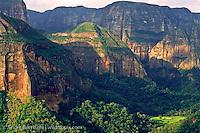 High sandstone cliffs and tropical forest at Los Volcanes Ecolodge, Amboró National Park, Santa Cruz, Bolivia.