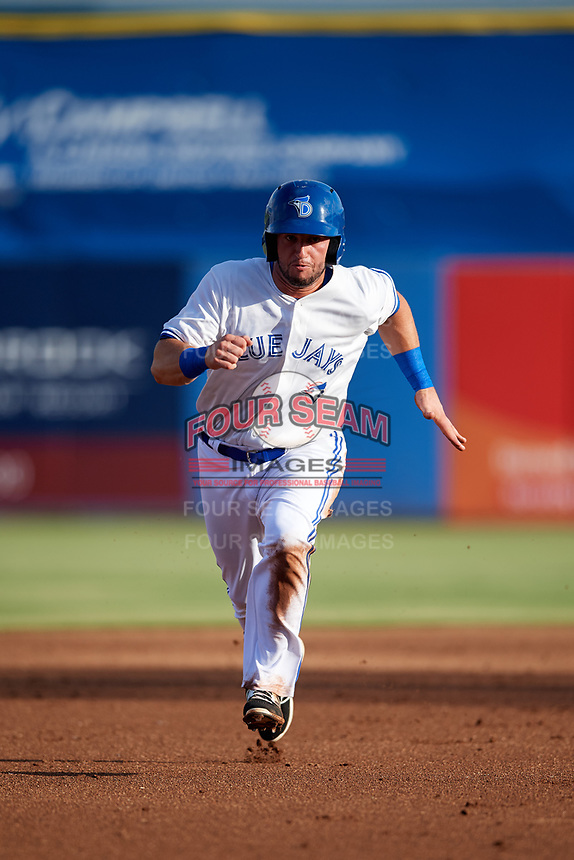Dunedin Blue Jays designated hitter Alberto Mineo (44) running the bases during a game against the Tampa Tarpons on June 2, 2018 at Dunedin Stadium in Dunedin, Florida.  Dunedin defeated Tampa 4-0.  (Mike Janes/Four Seam Images)