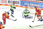 Eishockey DEL 37. Spieltag: Düsseldorfer EG vs <br /> ERC Ingolstadt am 07.04.2021 im ISS Dome in Düsseldorf<br /> <br /> Schuss von Düsseldorfs Daniel Fischbuch (Nr.71) aufs Tor von Ingolstadts Torhüter Michael Garteig (Nr.34)<br /> <br /> Foto © PIX-Sportfotos *** Foto ist honorarpflichtig! *** Auf Anfrage in hoeherer Qualitaet/Aufloesung. Belegexemplar erbeten. Veroeffentlichung ausschliesslich fuer journalistisch-publizistische Zwecke. For editorial use only.
