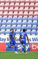 Wigan Athletic's Lee Evans celebrates his team's opening goal<br /> <br /> Photographer Dave Howarth/CameraSport<br /> <br /> The EFL Sky Bet Championship - Wigan Athletic v Blackburn Rovers - Saturday 27th June 2020 - DW Stadium - Wigan<br /> <br /> World Copyright © 2020 CameraSport. All rights reserved. 43 Linden Ave. Countesthorpe. Leicester. England. LE8 5PG - Tel: +44 (0) 116 277 4147 - admin@camerasport.com - www.camerasport.com