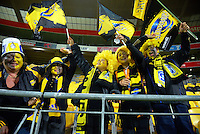 Fans in the stand during the Super Rugby match between the Hurricanes and Reds at Westpac Stadium, Wellington, New Zealand on Saturday, 14 May 2016. Photo: Dave Lintott / lintottphoto.co.nz
