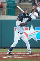 Jordan Scott (66) of the Pulaski Yankees at bat against the Greeneville Reds at Calfee Park on June 23, 2018 in Pulaski, Virginia. The Reds defeated the Yankees 6-5.  (Brian Westerholt/Four Seam Images)