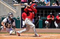 Springfield Cardinals Bruce Caldwell swings during the game against the Northwest Arkansas Naturals at Arvest Ballpark on May 4, 2016 in Springdale, Arkansas.  Springfield won 10-6.  (Dennis Hubbard/Four Seam Images)