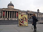 """Pic shows: Flower artist Joseph Massie with his picture of Wills and Kate Middleton in traflagar Sq today 13.2.13..On the day that Italian and Ausssie magazines announce they will publish shots of bikini clad Kate Middleton pregnant - Kate is seen """"blooming"""" in trafalgar square - Asda partners with RHS Chelsea winner, Joseph Massie, to create floral portrait of the Duke and Duchess of Cambridge. Massie's artwork stands 8.8ft tall by 6.6ft wide and was created using a combination of 1,830 flowers. Outside the National Gallery in Trafalgar Square.....Pic by Gavin Rodgers/Pixel 8000 Ltd"""