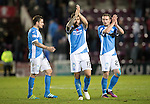 Hearts v St Johnstone…05.11.16  Tynecastle   SPFL<br />Paul Paton, Richie Foster and Chris Kane applaud the travelling fans at full time<br />Picture by Graeme Hart.<br />Copyright Perthshire Picture Agency<br />Tel: 01738 623350  Mobile: 07990 594431