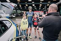 Jens Keukeleire (BEL/Orica Scott) pleasing some young fans before the race<br /> <br /> 2017 National Championships Belgium - Elite Men - Road Race (NC)<br /> 1 Day Race: Antwerpen > Antwerpen (233km)