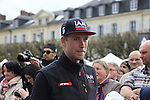 IAM Cycling team at the Team Presentations in Compiegne before the 2015 Paris-Roubaix cycle race held over the cobbled roads of Northern France. 11th April 2015.<br /> Photo: Eoin Clarke www.newsfile.ie