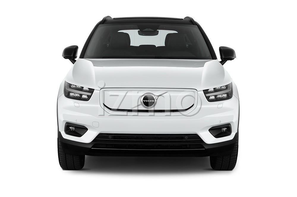 Car photography straight front view of a 2021 Volvo XC40-Recharge - 5 Door SUV Front View