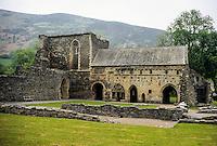 Wales, Dormitory, Valle Crucis Abbey, established 1201, near Llangollen.  Denbighshire.
