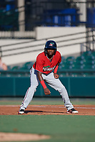Fort Myers Miracle Yeltsin Encarnacion (1) leads off during a Florida State League game against the Lakeland Flying Tigers on August 3, 2019 at Publix Field at Joker Marchant Stadium in Lakeland, Florida.  Lakeland defeated Fort Myers 4-3.  (Mike Janes/Four Seam Images)