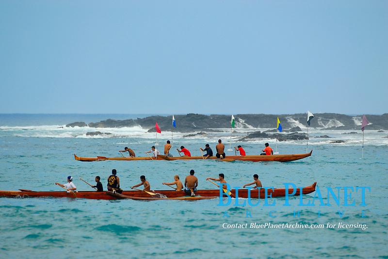 outrigger canoe race, team Wailele and Haiakea, Kailua Kona, The Big Island of Hawaii