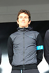 Geraint Thomas (WAL) Team Sky at the Team Presentations in Compiegne before the 2015 Paris-Roubaix cycle race held over the cobbled roads of Northern France. 11th April 2015.<br /> Photo: Eoin Clarke www.newsfile.ie