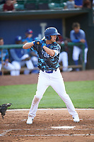 Jon Littell (48) of the Ogden Raptors bats against the Grand Junction Rockies at Lindquist Field on June 14, 2019 in Ogden, Utah. The Raptors defeated the Rockies 12-0. (Stephen Smith/Four Seam Images)