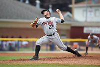 Tri-City ValleyCats starting pitcher Parker Mushinski (22) delivers a pitch during a game against the Batavia Muckdogs on July 16, 2017 at Dwyer Stadium in Batavia, New York.  Tri-City defeated Batavia 13-8.  (Mike Janes/Four Seam Images)