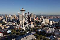 Space Needle skyline aerial, Seattle, WA