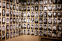 Portraits of those killed and missing displayed at the Gallery 11/07/95 exhibition space in Sarajevo whose mission is to preserve the memory of Srebrenica and 8372 people who lost their lives during the genocide.