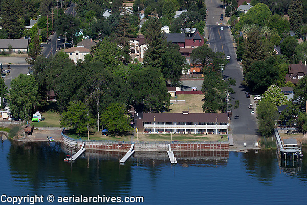 aerial photograph of the Skylark Shores Resort and the Clearlake Avenue boat ramp, Lakeport, Lake County, California