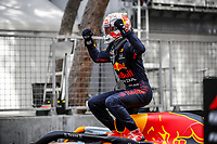 23rd May 2021; Principality of Monaco; F1 Grand Prix of Monaco,   Race Day;   33 VERSTAPPEN Max nld, Red Bull Racing Honda RB16B,  winner jumps from his car in parc ferme
