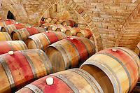 Wine aging in barrels in cellar. Castello di Amerorosa. Napa Valley, California. Property relased