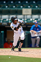Bradenton Marauders Lolo Sanchez (18) bunts during a Florida State League game against the St. Lucie Mets on July 28, 2019 at LECOM Park in Bradenton, Florida.  Bradenton defeated St. Lucie 7-3.  (Mike Janes/Four Seam Images)