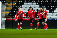 Monday 20 January 2014<br /> Pictured: Rhys Healy Celebrates with team mates after scoring <br /> Re: Swansea City U21 v Cardiff City U21 at the Liberty Stadium, Swansea Wales