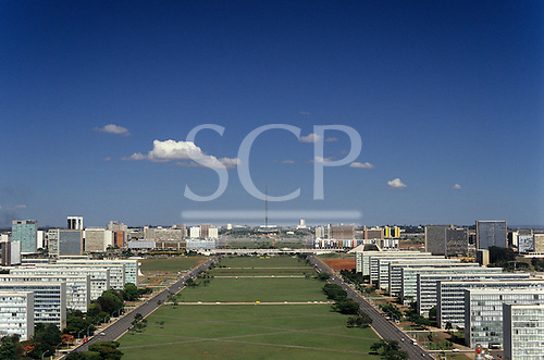 Brasilia, Brazil. Looking up the Avenue of the Ministries, the central axis designed by Lucio Costa, architect.