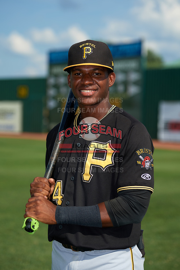 Bristol Pirates Francisco Mepris (54) poses for a photo before a game against the Elizabethton Twins on July 29, 2018 at Joe O'Brien Field in Elizabethton, Tennessee.  Bristol defeated Elizabethton 7-4.  (Mike Janes/Four Seam Images)