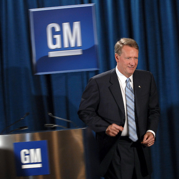 GM Chairman and CEO Rick Wagoner arrives at a news conference prior to attending the annual shareholders meeting Tuesday, June 3, 2008 in Wilmington, DE.  (AP Photo/Bradley C Bower)