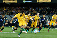 October 11, 2016: MILE JEDINAK (15) of Australia takes a penalty kick during a 3rd round Group B World Cup 2018 qualification match between Australia and Japan at the Docklands Stadium in Melbourne, Australia. Photo Sydney Low Please visit zumapress.com for editorial licensing. *This image is NOT FOR SALE via this web site.