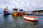 Colorful wooden boat, Southern Chile, South America