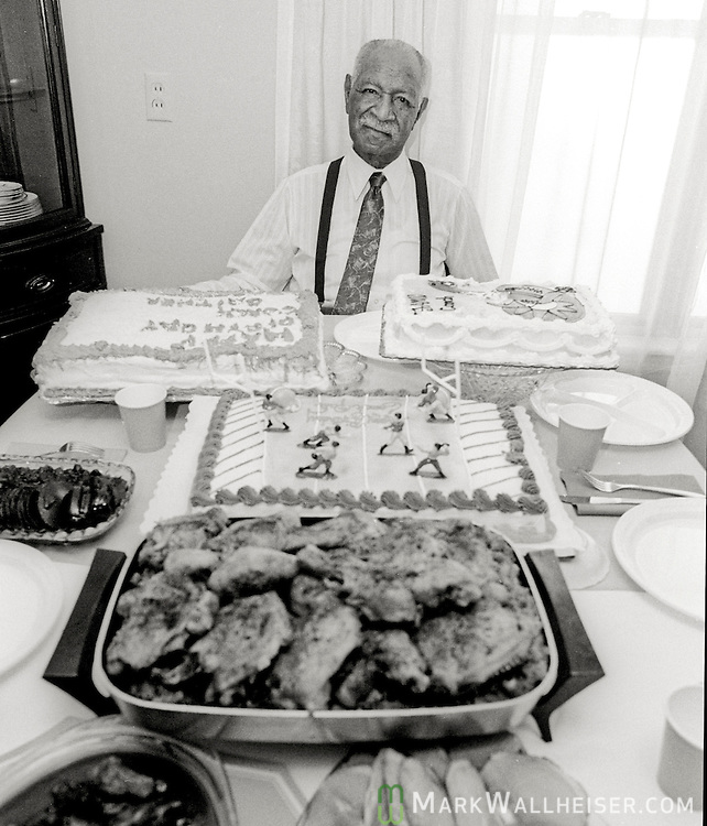 Legendary FAMU football coach Alonzo Smith (Jake) Gaither at his home in Tallahassee on his 88th birthday April 11, 1991.  Gaither compiled a 203-36-4 record, a .844 winning percentage  from 1945 till 1969.  Gaither died two years later at 90.