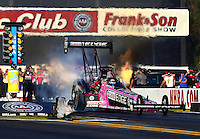 Nov 10, 2013; Pomona, CA, USA; NHRA top fuel dragster driver Brittany Force loses traction during the Auto Club Finals at Auto Club Raceway at Pomona. Mandatory Credit: Mark J. Rebilas-