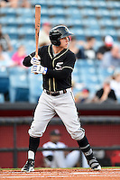 Omaha Storm Chasers outfielder Brian Fletcher (6) at bat during a game against the Nashville Sounds on May 19, 2014 at Herschel Greer Stadium in Nashville, Tennessee.  Nashville defeated Omaha 5-4.  (Mike Janes/Four Seam Images)