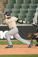 Nate Recknagel #12 of the Lake County Captains follows through on his swing versus the Kannapolis Intimidators at Fieldcrest Cannon Stadium May 3, 2009 in Kannapolis, North Carolina. (Photo by Brian Westerholt / Four Seam Images)
