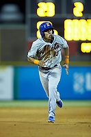 Mark Vientos (13) of the Kingsport Mets takes off for third base during the game against the Burlington Royals at Burlington Athletic Stadium on July 27, 2018 in Burlington, North Carolina. The Mets defeated the Royals 8-0.  (Brian Westerholt/Four Seam Images)
