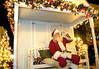 Santa waits to greet kids and families during the annual Christmas tree lighting event at Birkdale Village in Huntersville, NC. Birkdale Village combines the best of shopping, dining, apartments and entertainment venues within a 52-acre mixed-use development.