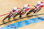 The team of Poland with Daria Bikulik, Natalia Rutkowska, Justyna Kaczkowska and Nikola Rozynska competes in the Women's Team Pursuit - 1st Round as part of the 2017 UCI Track Cycling World Championships on 13 April 2017, in Hong Kong Velodrome, Hong Kong, China. Photo by Chris Wong / Power Sport Images