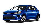 Stock pictures of low aggressive front three quarter view of 2021 KIA Rio S 5 Door Hatchback Low Aggressive