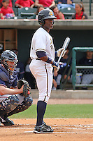 DeAngelo Mack #11 of the Charleston RiverDogs at bat during a game against the Rome Braves on April 27, 2010 in Charleston, SC.