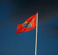 10th October 2020; Thomond Park, Limerick, Munster, Ireland; Guinness Pro 14 Rugby, Munster versus Edinburgh; The Munster flag waves in the strong breeze at kickoff