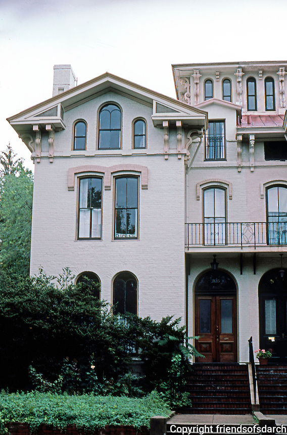 D.C.: Georgetown--Italianate House, 1868. Part of Cooke's Row, Que St.  One of four double houses; two Italianate, two Second Empire. Built as luxury rentals.  Photo '85.