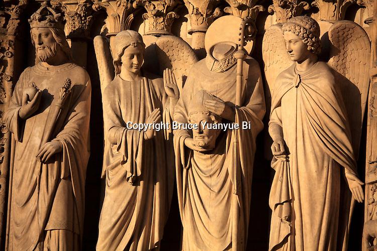 Saints statues on Portal of the Virgin of Notre Dame cathedral. city of Paris. Paris. France