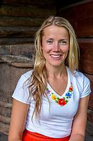 Estonia, Muhu Island. Muhu Jaanalind, guest house and farm. Ingrem Raidjoe (Daughter & owner),