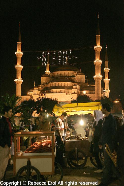 Ramadan festivities out the Blue Mosque, Istanbul, Turkey