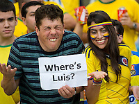 Columbia fans with a Where is Luis Suarez sign