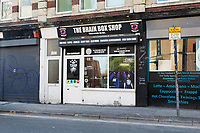 Pictured: The Brain Box Shop which sells CBD products, near The White Swan pub on the High Street, Swansea, Wales, UK.<br /> Re: A pub in the High Street, Swansea is closing down after facing issues in the area with prostitution, anti-social behaviour and violence.<br /> The owner of The White Swan, Gez Couch has made the decision after witnessed drugs, prostitution and violence on the streets outside the businesses.
