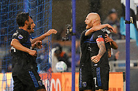 SAN JOSE, CA - MARCH 7: Magnus Eriksson #7 of the San Jose Earthquakes celebrates scoring with teammates on a PK during a game between Minnesota United FC and San Jose Earthquakes at Earthquakes Stadium on March 7, 2020 in San Jose, California.