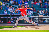 20 April 2013: Washington Nationals starting pitcher Gio Gonzalez on the mound against the New York Mets at Citi Field in Flushing, NY. Gonzalez was pulled after giving up 5 runs and the lead in the bottom of the 4th inning leading to a no-decision start as the Nationals rallied to defeat the Mets 7-6 to tie their 3-game series at one a piece. Mandatory Credit: Ed Wolfstein Photo *** RAW (NEF) Image File Available ***